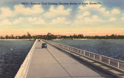 Old postcard, of Tamiami Trail near Port Charlotte.