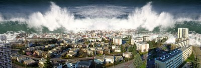 Tsunami hitting city