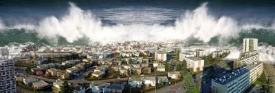 Tsunami hitting city